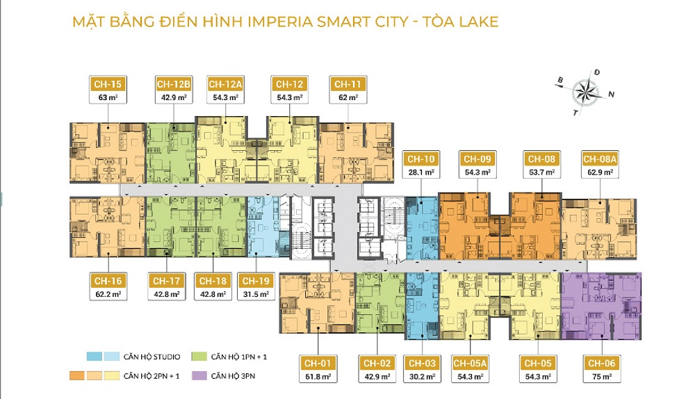 Mặt bằng tòa the Lake Imperia Smart City