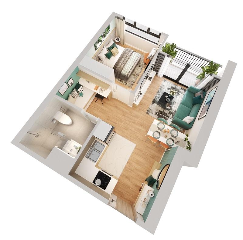 thiết kế căn hộ 1 ngủ Imperia Smart City