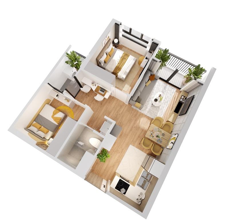 thiết kế căn hộ 54m2 Imperia Smart City