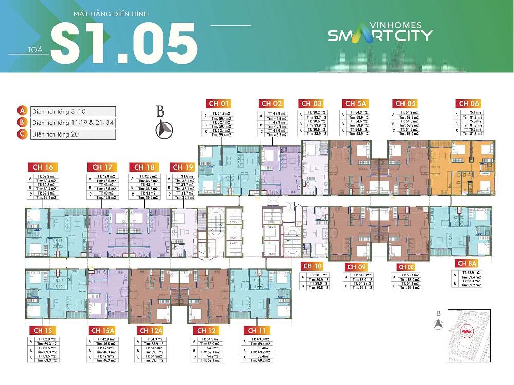 mat bang toa S1.05 vinhomes smart city